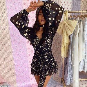 New LOVESHACKFANCY Rina Black Star Silk Dress